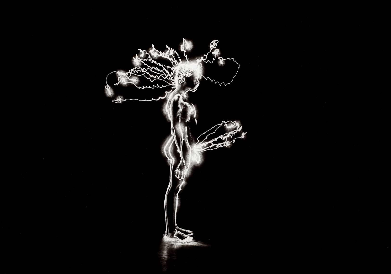 David Lebe; Angelo Electric 1979, male nude, light drawing, black and white photograph