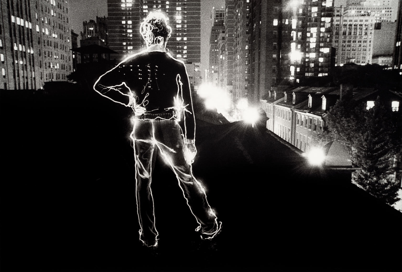 David Lebe; Angelo On The Roof, 1979, light drawing, black and white photograph