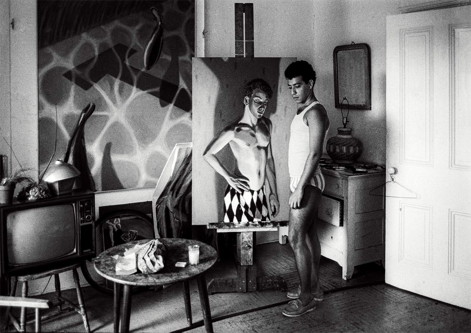 David Lebe; Antonio In His Studio, 1984, blacl and white photograph