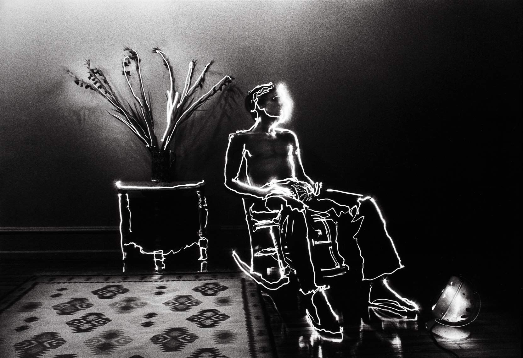 David Lebe; Barry In Rocker, 1979, light drawing, black and white photograph