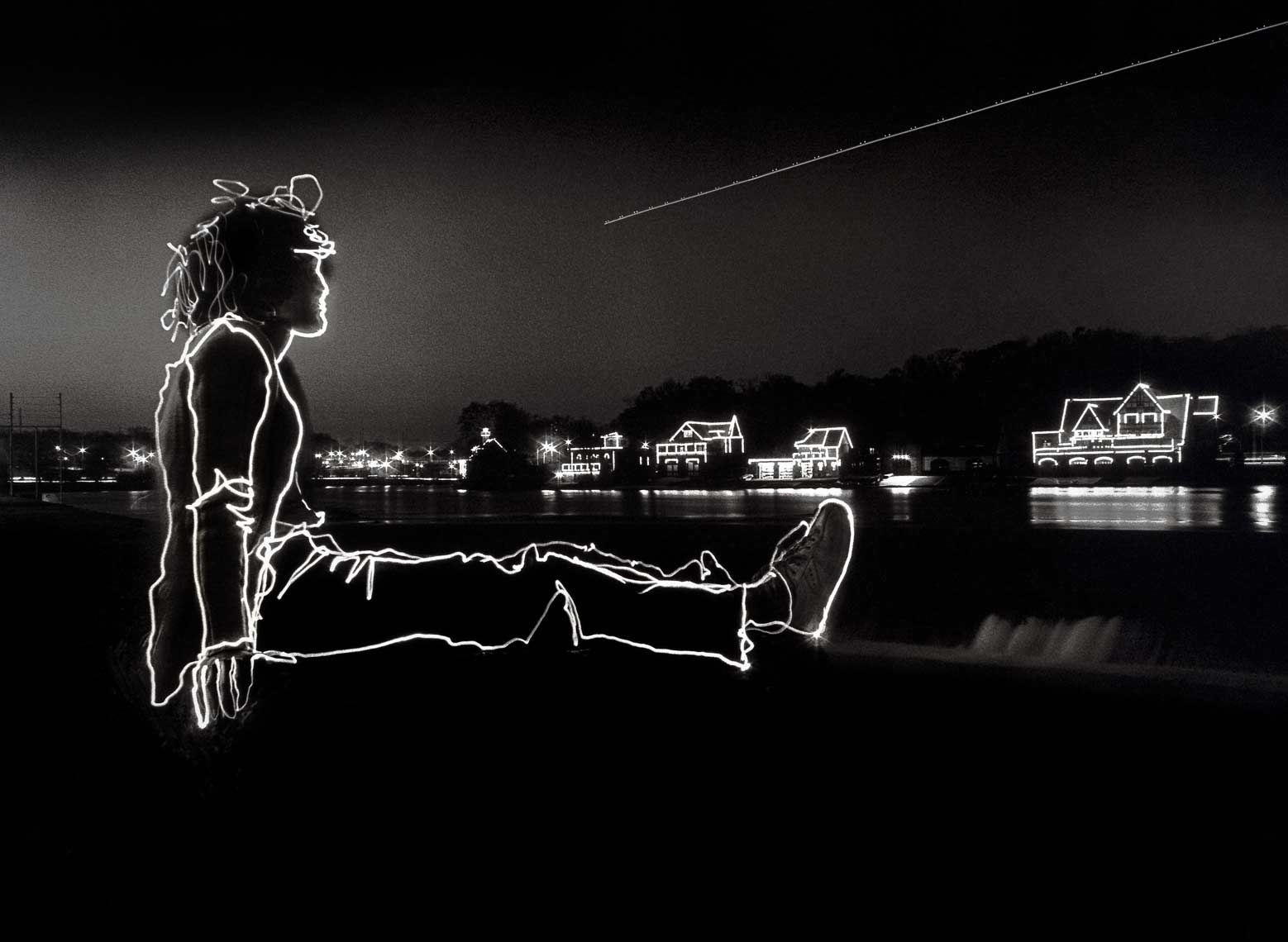 David Lebe; Boat House Row, 1981, light drawing, black and white photograph