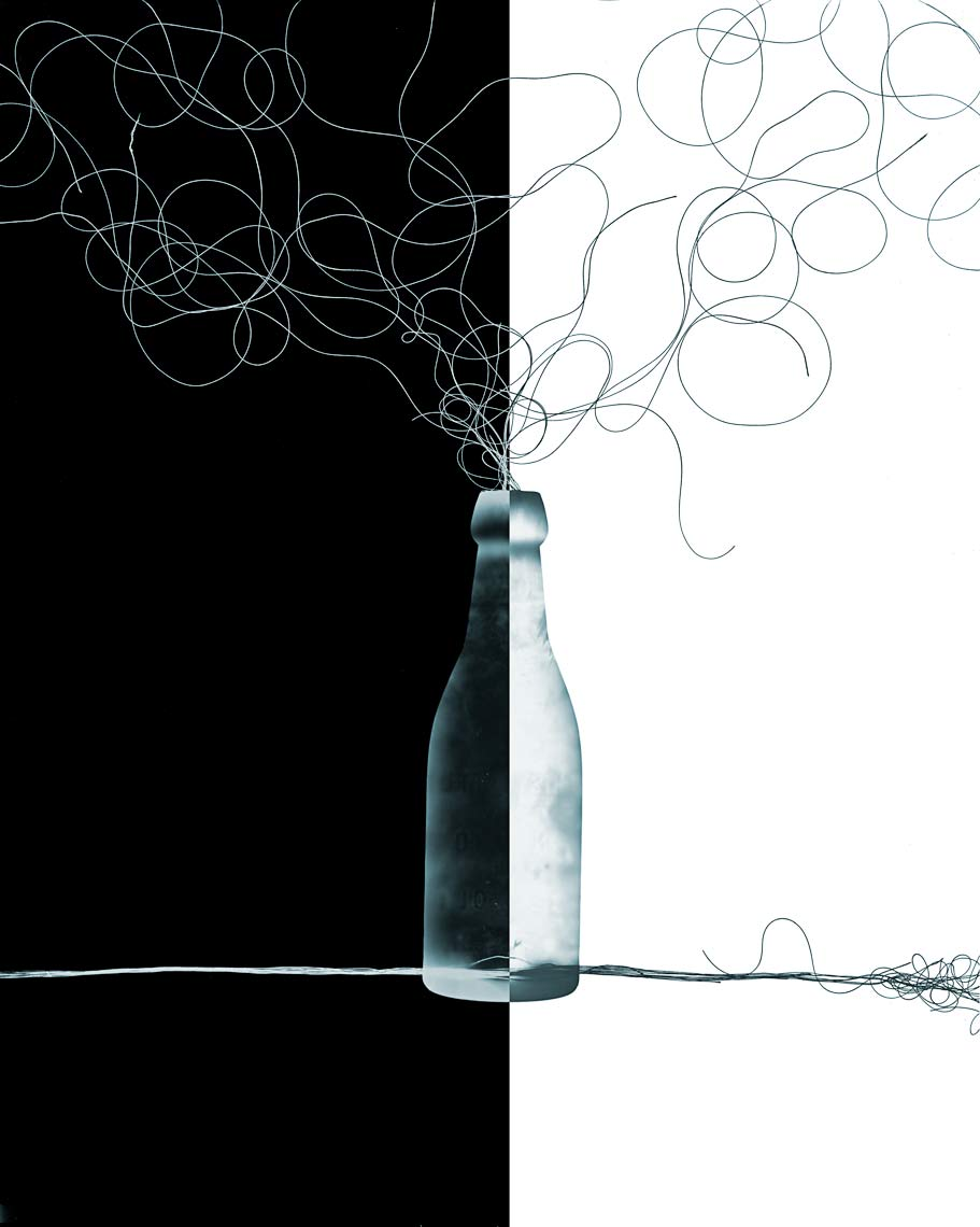 David Lebe; Bottle 1v014, 1985-20112011, photogram with digital drawing