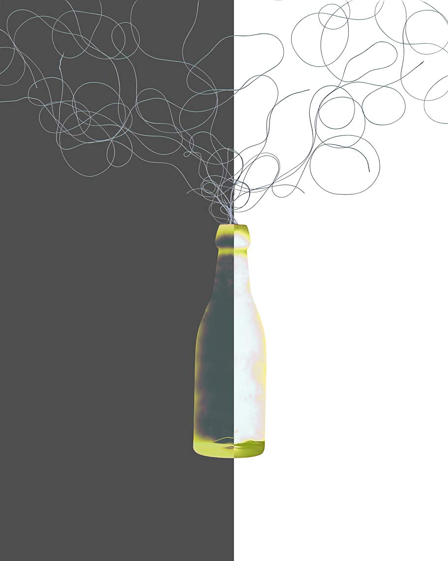 David Lebe; Bottle 1v016, 1985-2011, digitally altered photogram