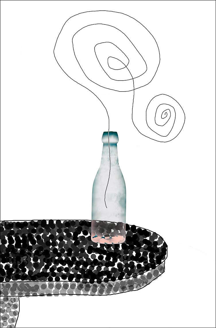 David Lebe; Bottle 1v034, 1985-2011, digitally altered protogram with digital drawing