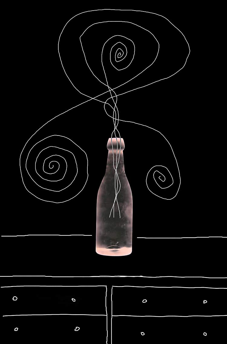 David Lebe; Bottle 1v043, 1985-2011, digitally altered protogram with digital drawing