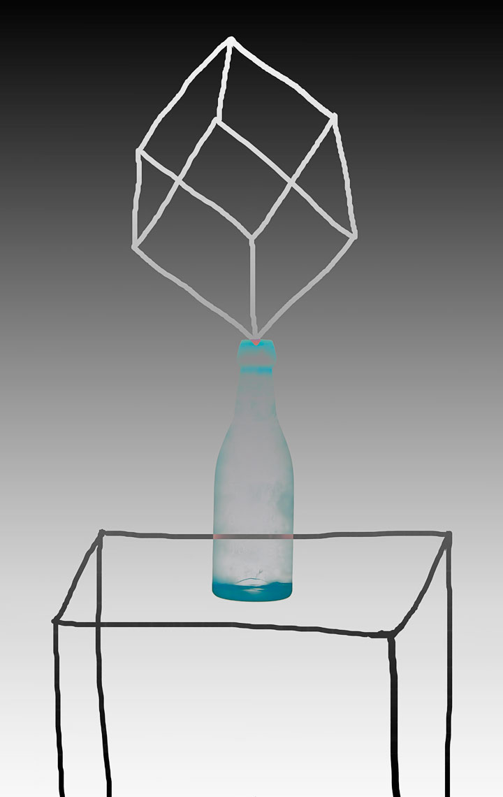 David Lebe; Bottle 1v046, 1985-2011, digitally altered protogram with digital drawing