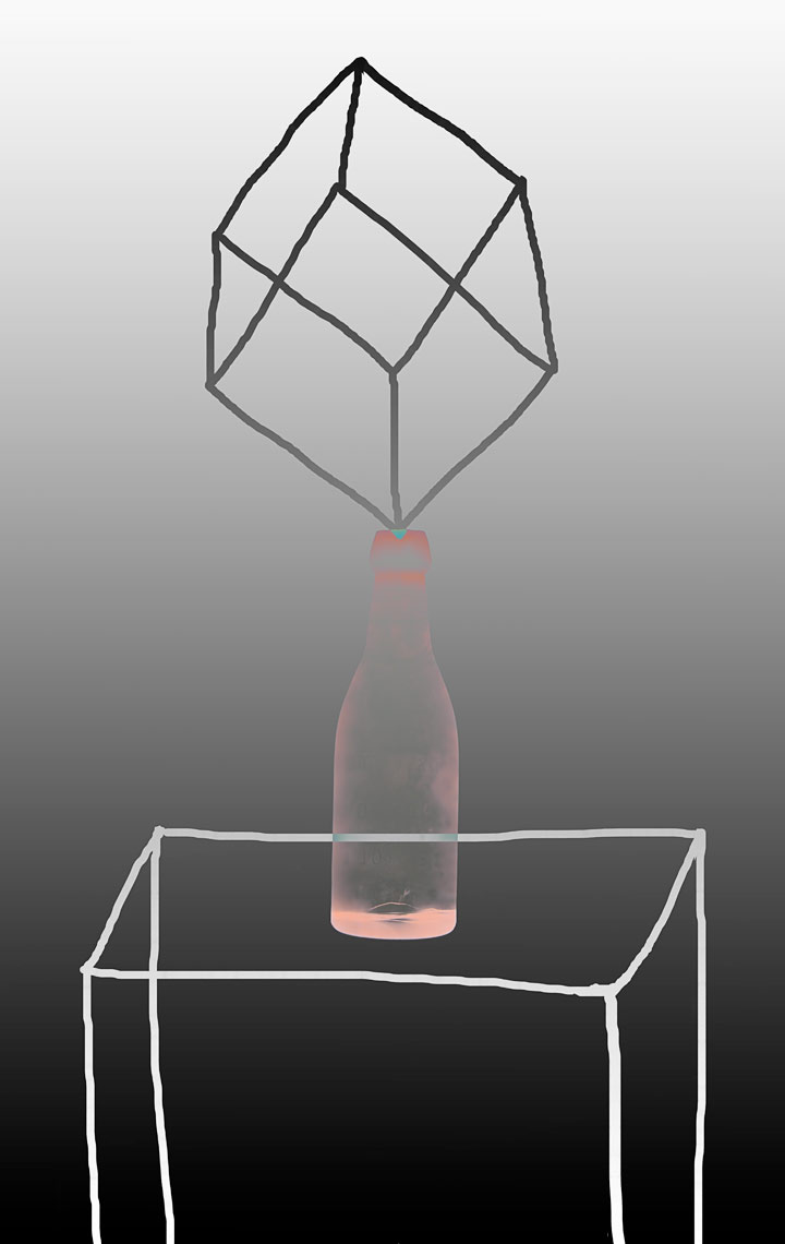 David Lebe; Bottle 1v049, 1985-2011, digitally altered protogram with digital drawing
