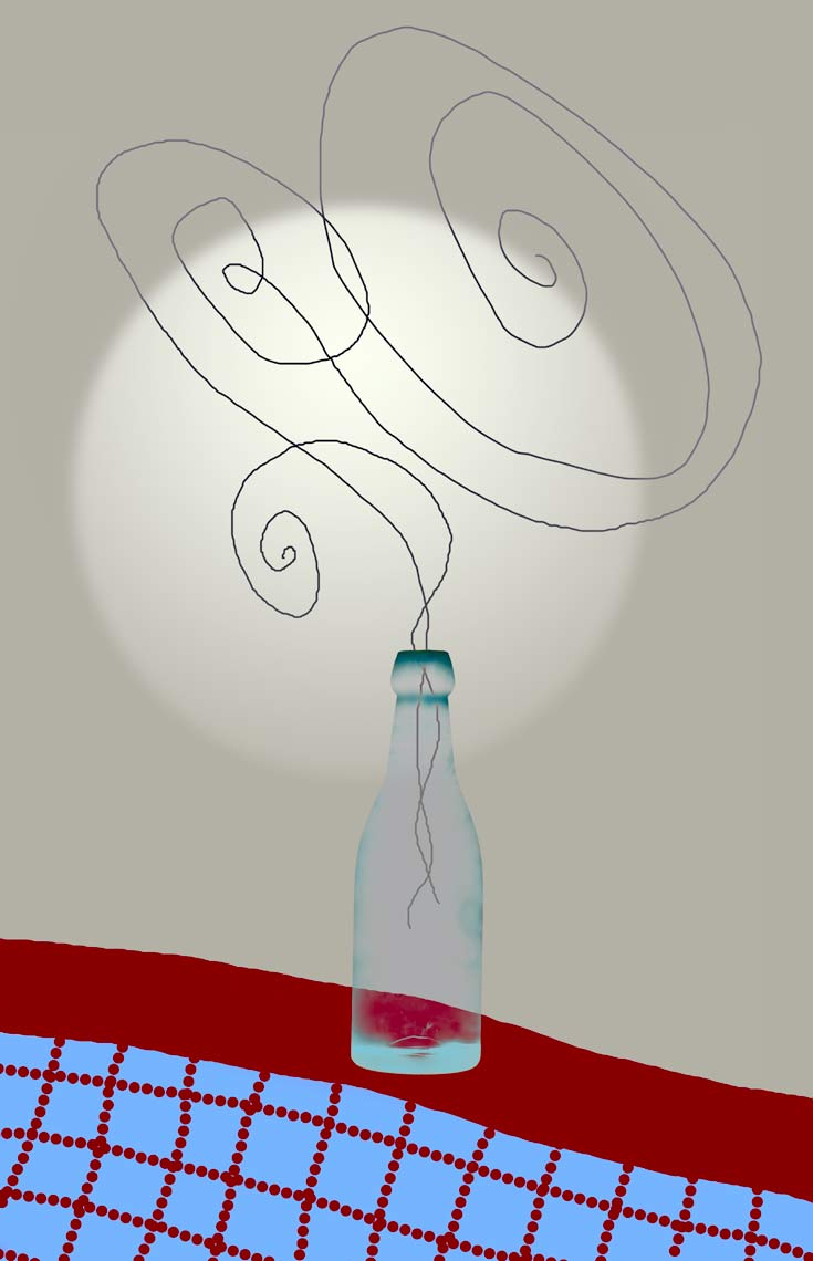 David Lebe; Bottle 2v47-1985 2012, digitally altered protogram with digital drawing