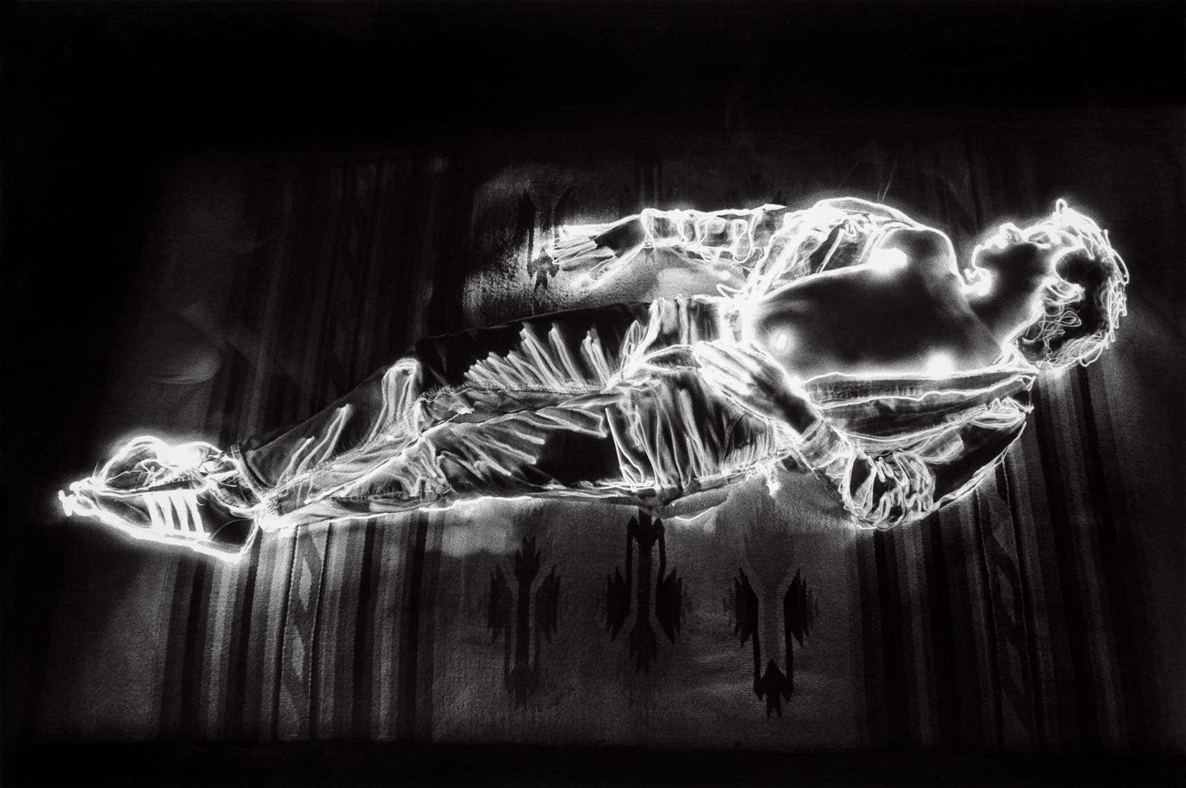 David Lebe; Boy Dream,1981, light drawing, black and white photograph