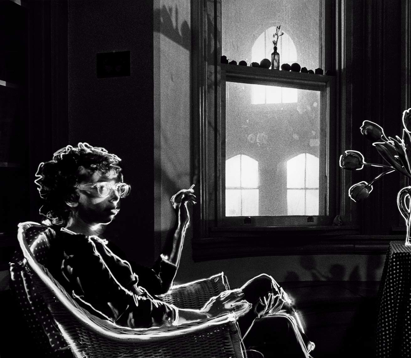 David Lebe; Charlie Smoking, 1982, light drawing, black and white photograph