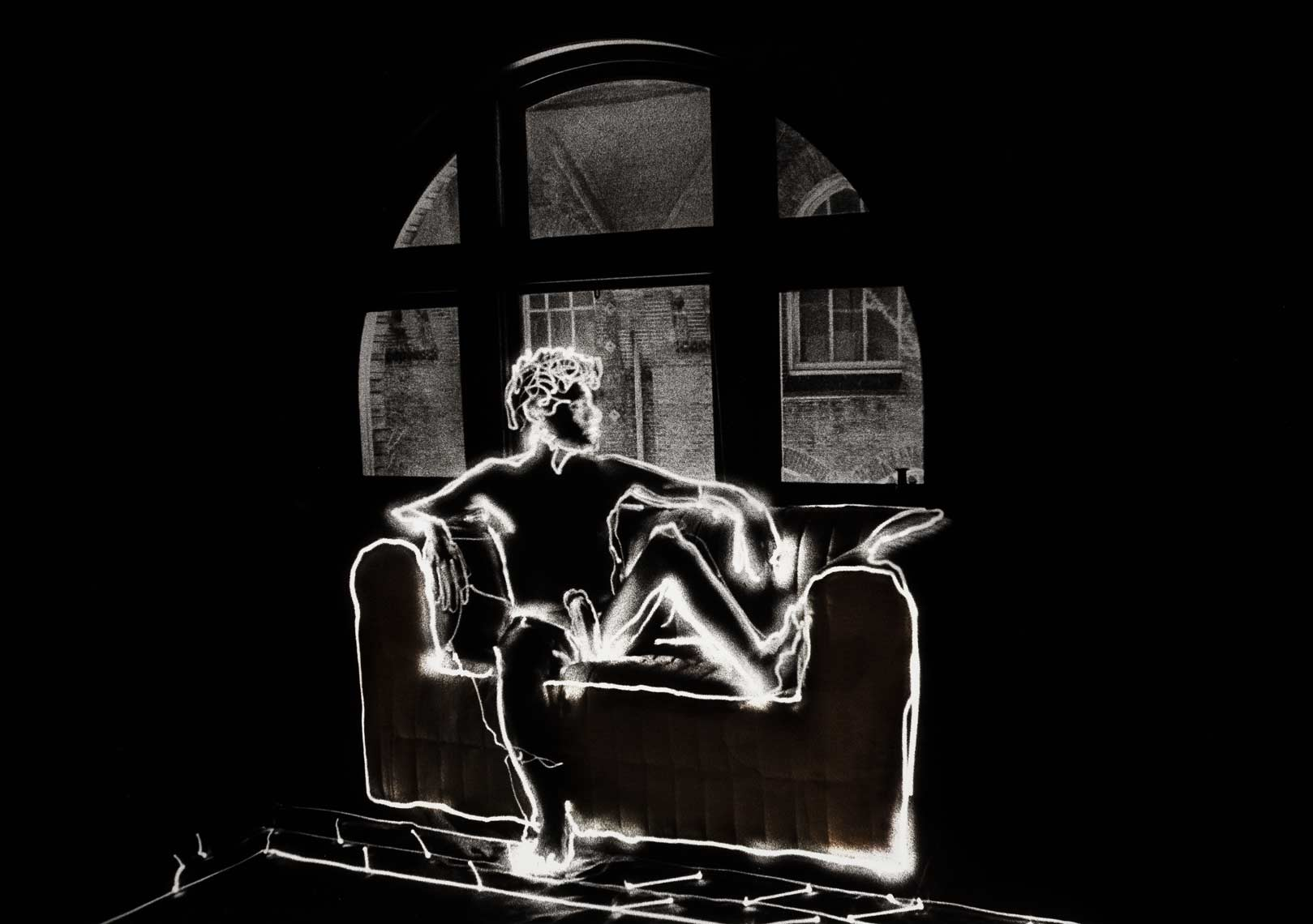 David Lebe; Cool Heat 1981, light drawing, black and white photograph