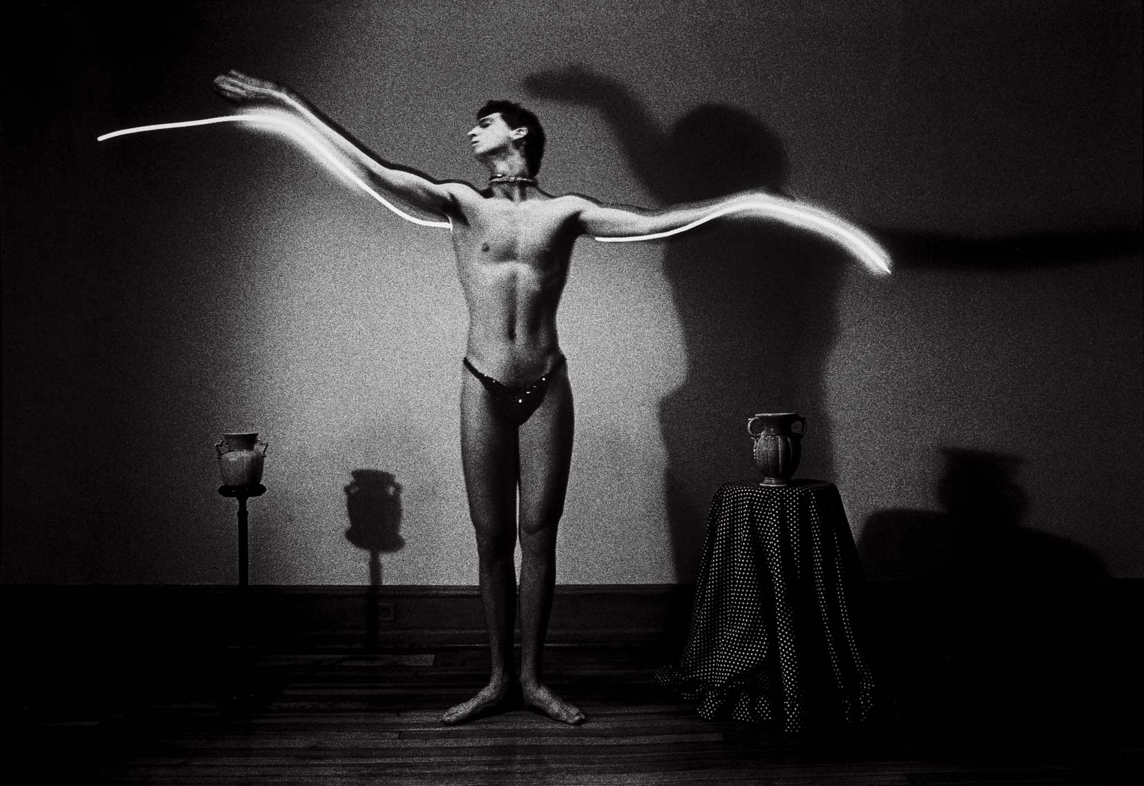 Flight, 1983, male nude, light drawing, black and white photograph