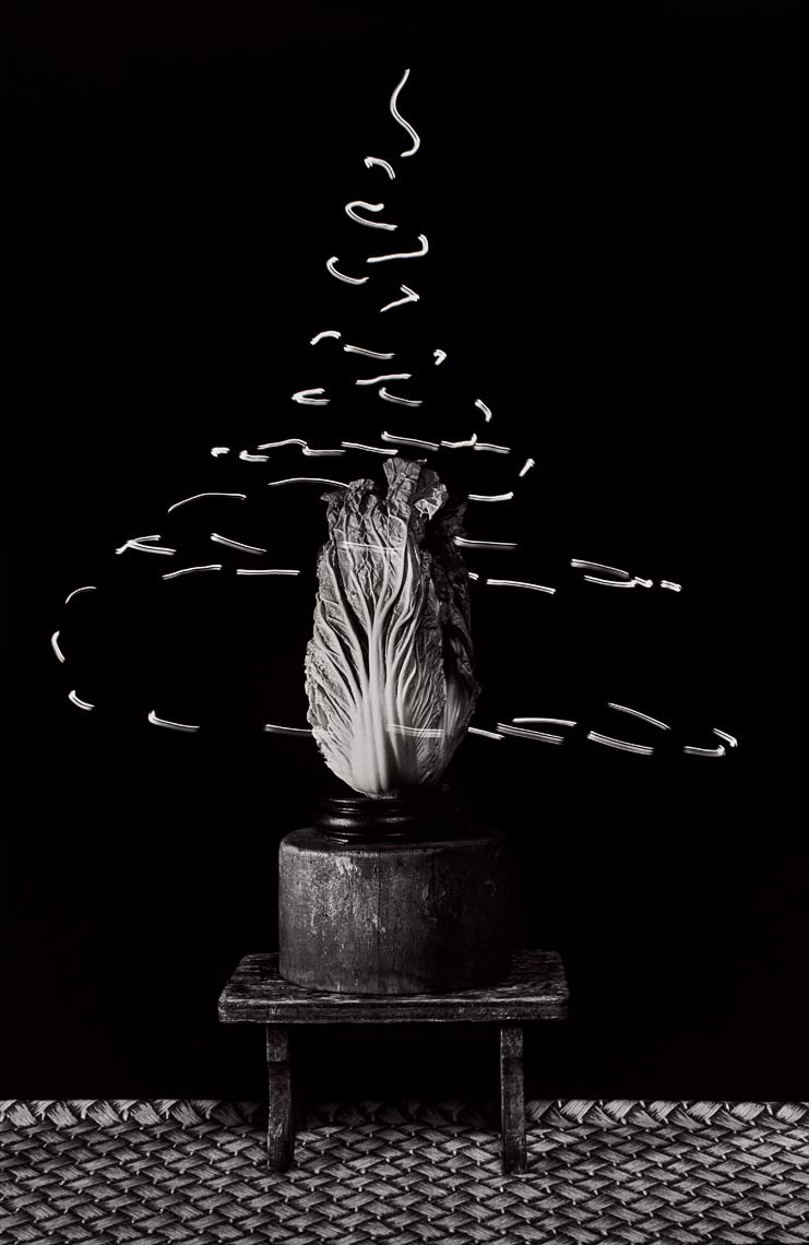 David Lebe; Food For Thought 5, 1992, light drawing, black and white photograph