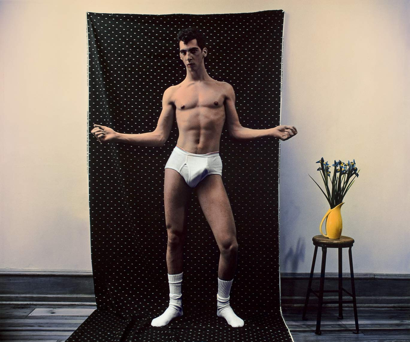 David Lebe; Hard Renato, 1983, male nude, hand colored photograph