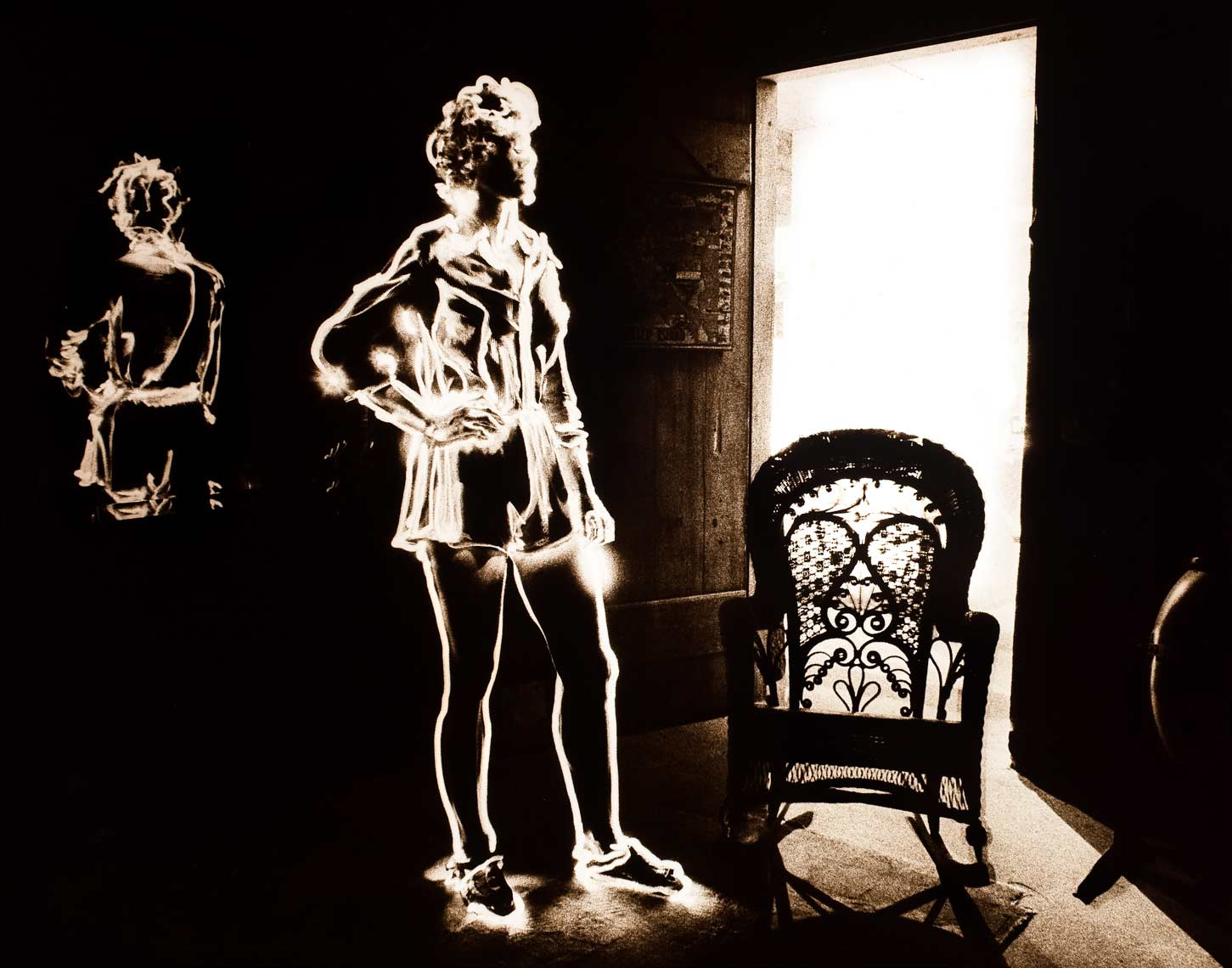 David Lebe; In Front of The Large Mirror, 1981, light drawing, black and white photograph