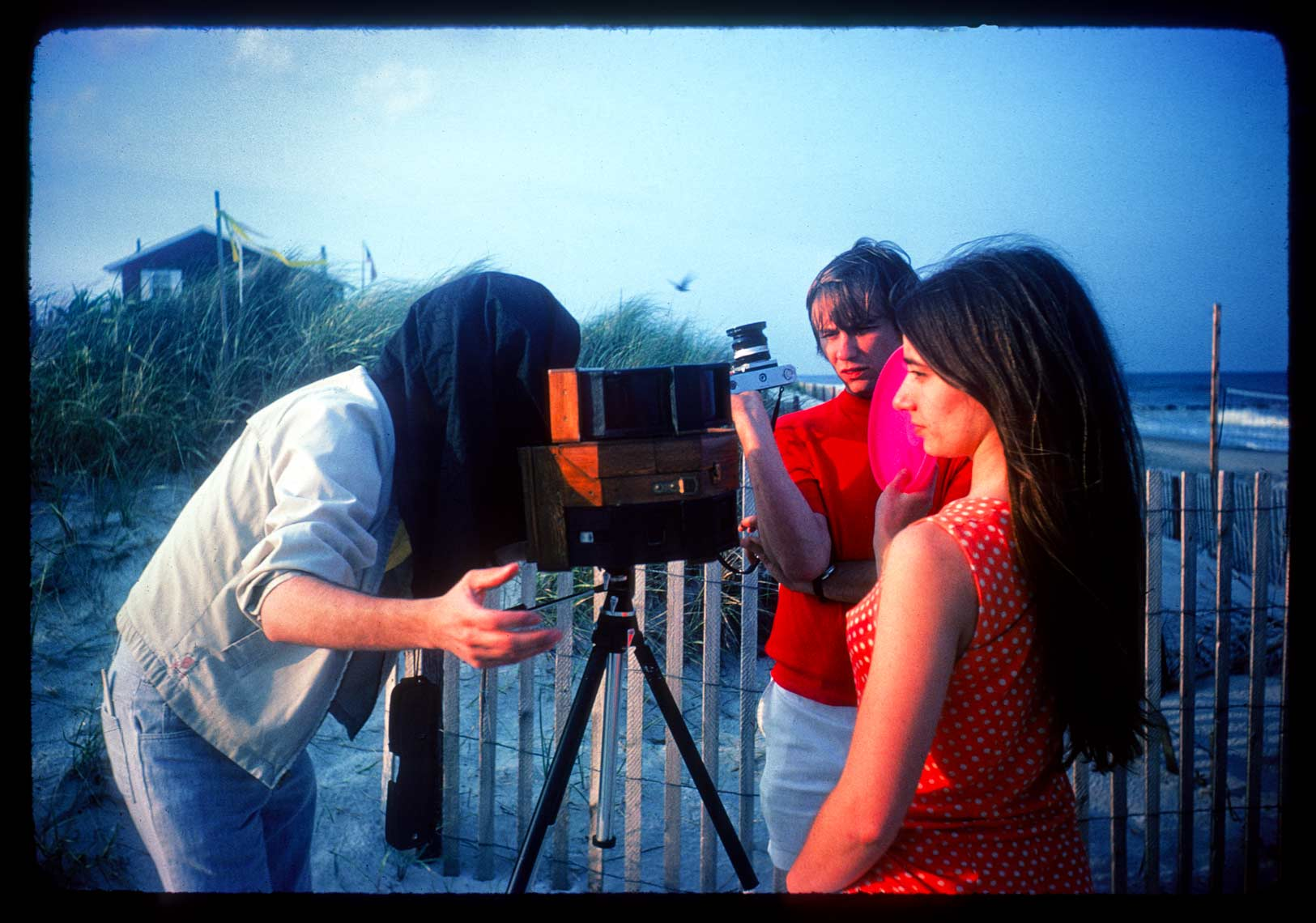 David Lebe using his four apature pinhole camera with viewfinder, 1975