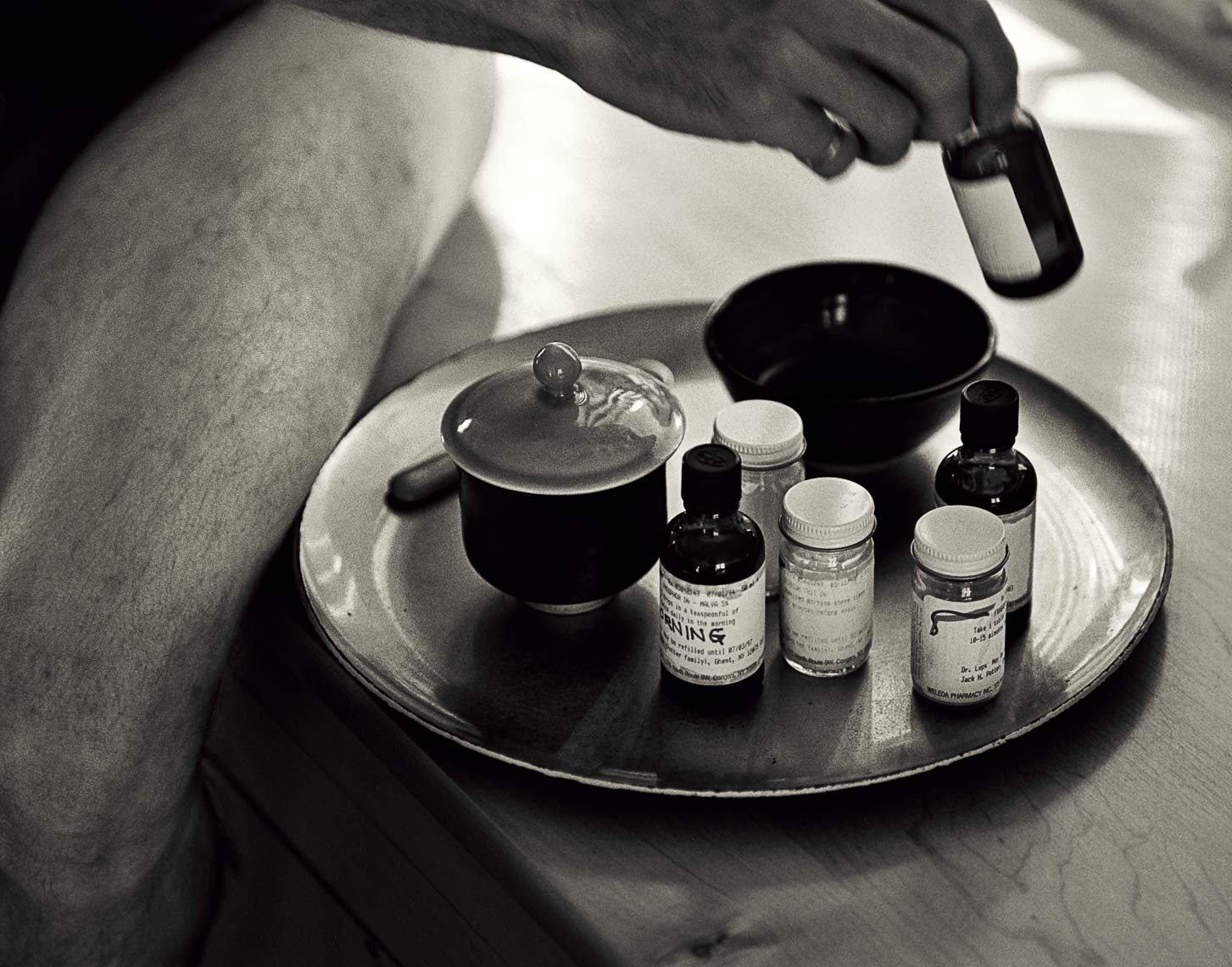 David Lebe; Morning Ritual 30A, 1994, black and white photograph about living with AIDS