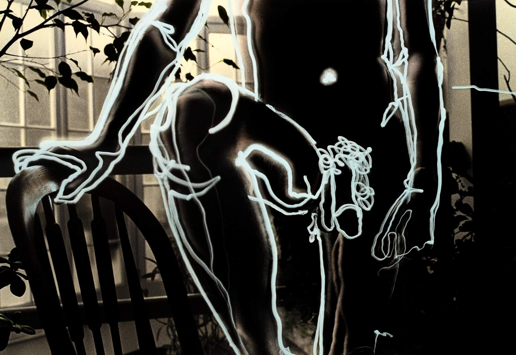 David Lebe; Paul, 1981, male nude, light drawing, hand colored photograph