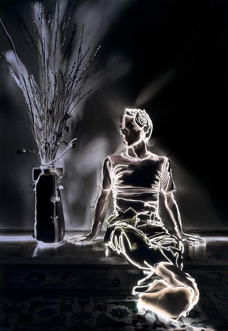David Lebe; Pussy Willow Boy, 1981, light drawing, hand colored photograph