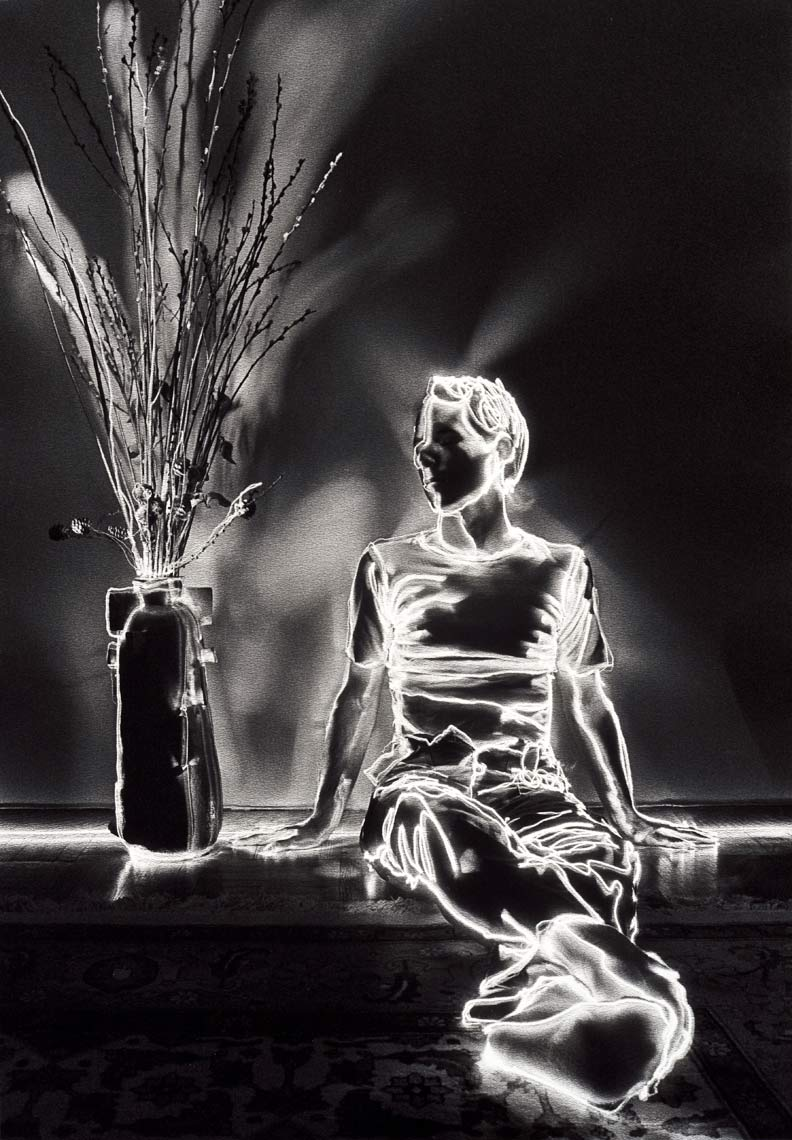 David Lebe; Pussy Willow Boy, 1981, light drawing, black and white photograph