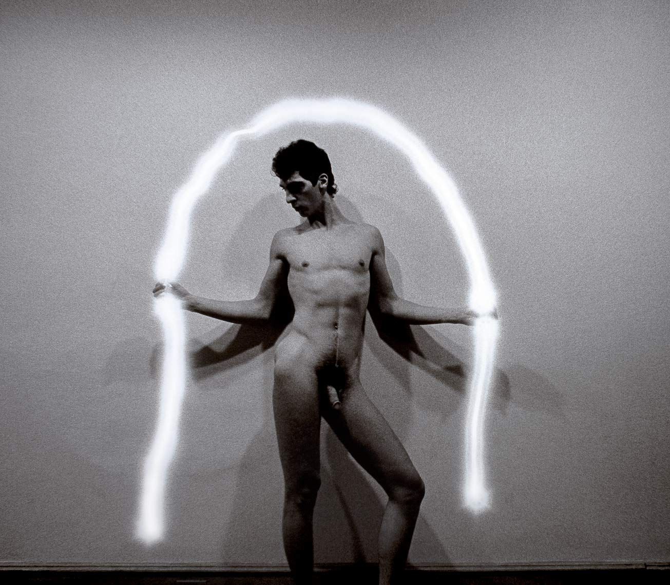 David Lebe; Renatos Arc, 1983, male nude, light drawing, black and white photograph