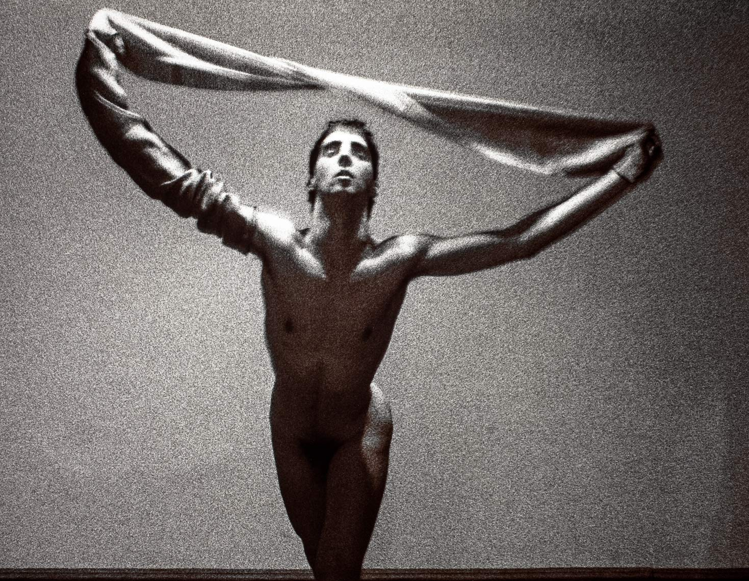 David Lebe; Scarf, v2, 1983, male nude, black and white photograph