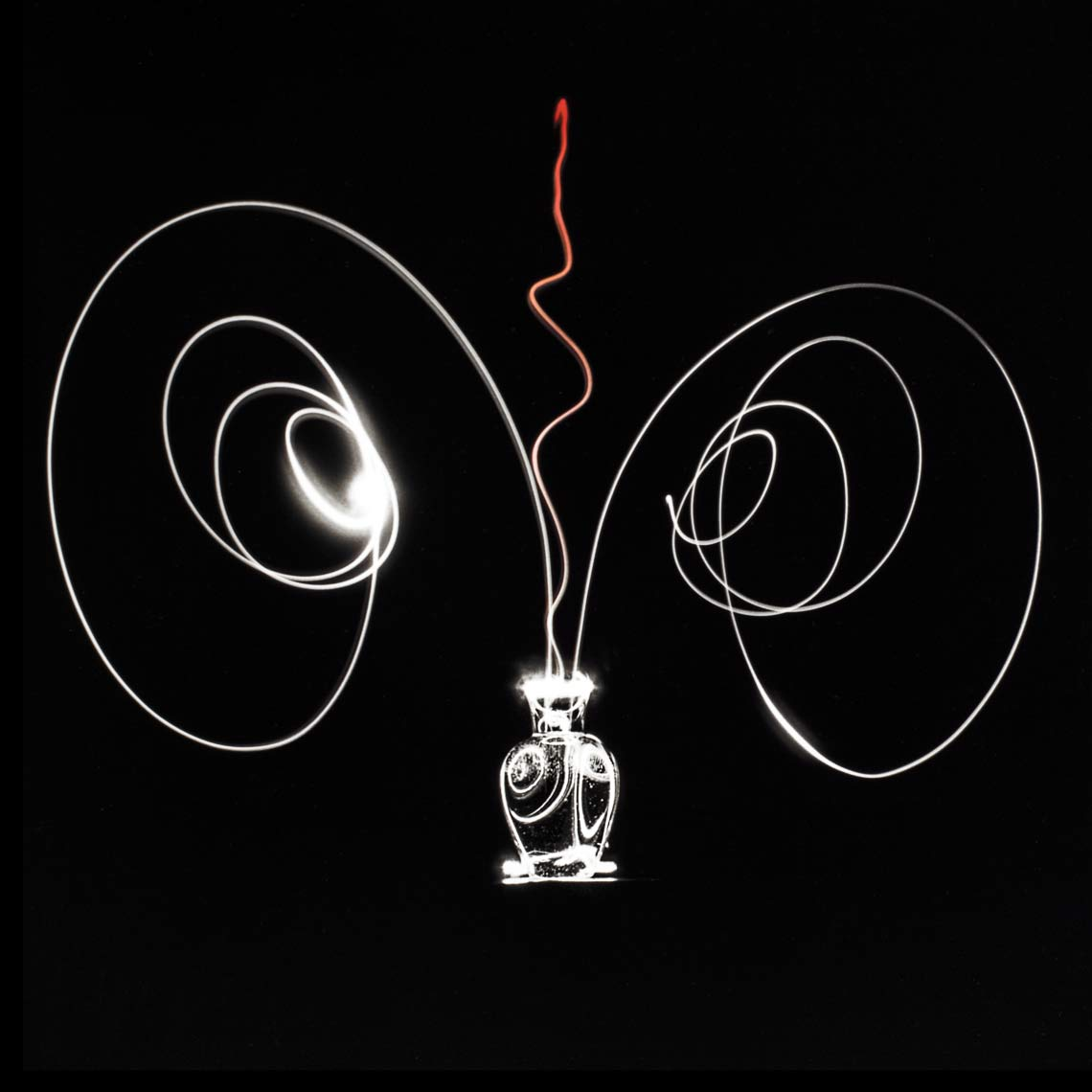 David Lebe; Scribble 1, 1987, light drawing, hand colored photograph