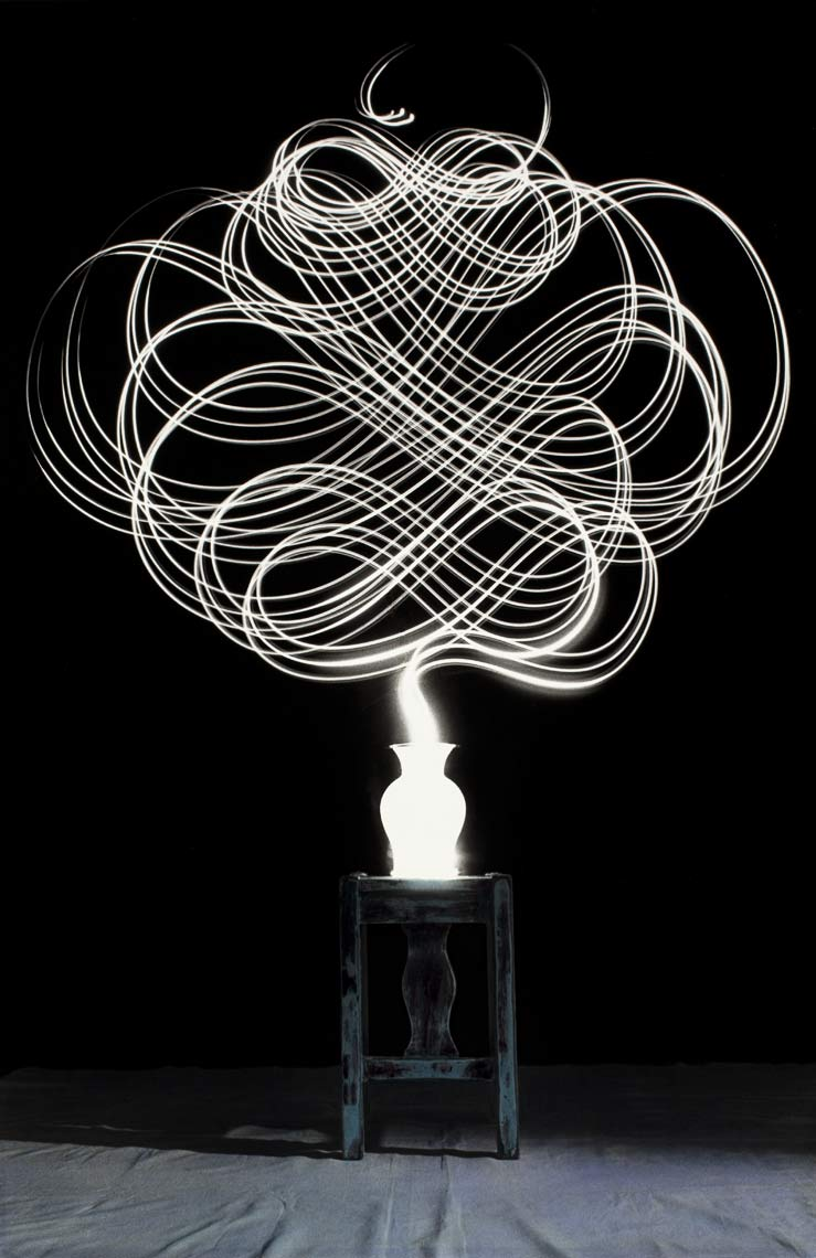 David Lebe; Scribble 15, 1987, light drawing, hand colored photograph
