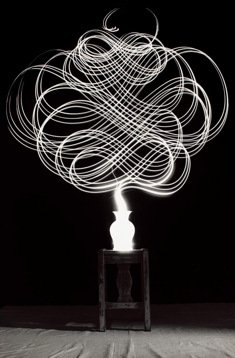 David Lebe; Scribble 15, 1987, light drawing, black and white photograph