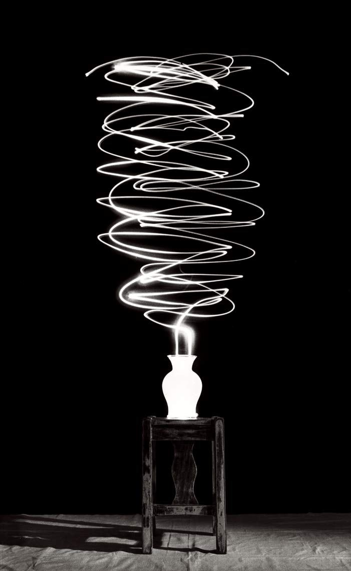David Lebe; Scribble 17, 1987, light drawing, black and white photograph