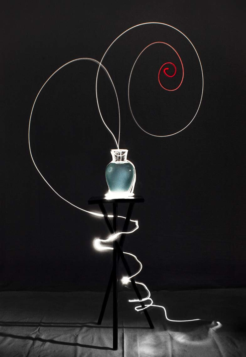 David Lebe; Scribble 2, 1987, light drawing, hand colored photograph