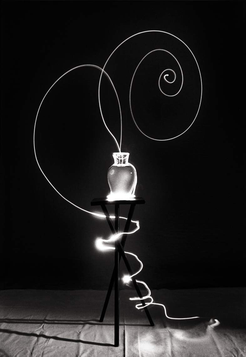 David Lebe; Scribble 2, 1987, light drawing, black and white photograph