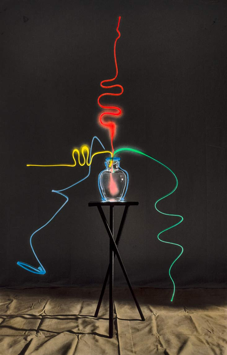David Lebe; Scribble 5, 1987, light drawing, hand colored photograph