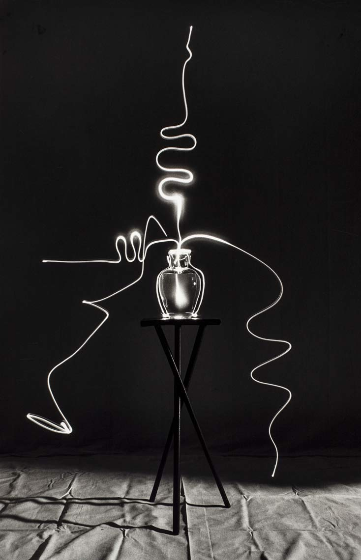 David Lebe; Scribble 5, 1987, light drawing, black and white photograph