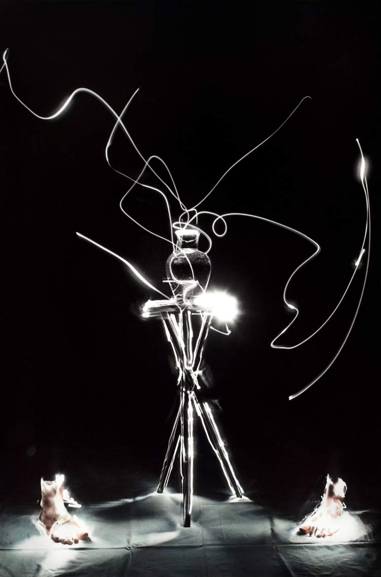 David Lebe; Scribble 6 Feet,1987, light drawing, hand colored photograph