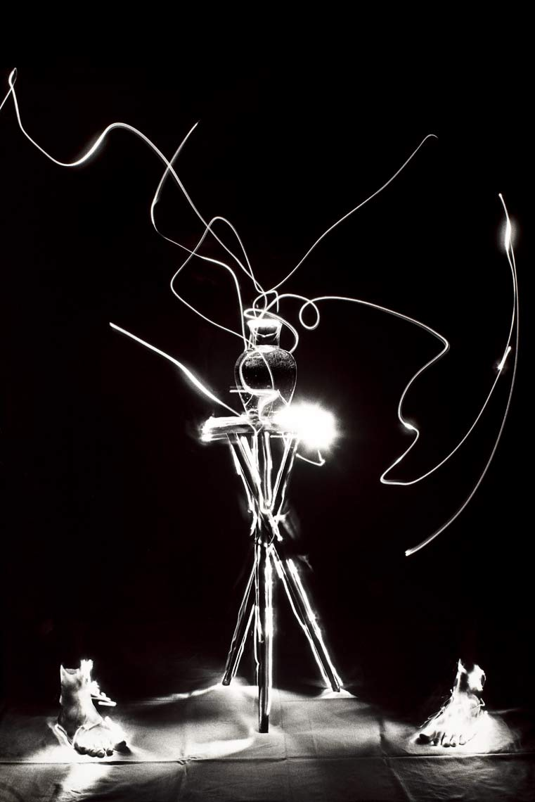 David Lebe; Scribble 6, Feet,1987, light drawing, black and white photograph