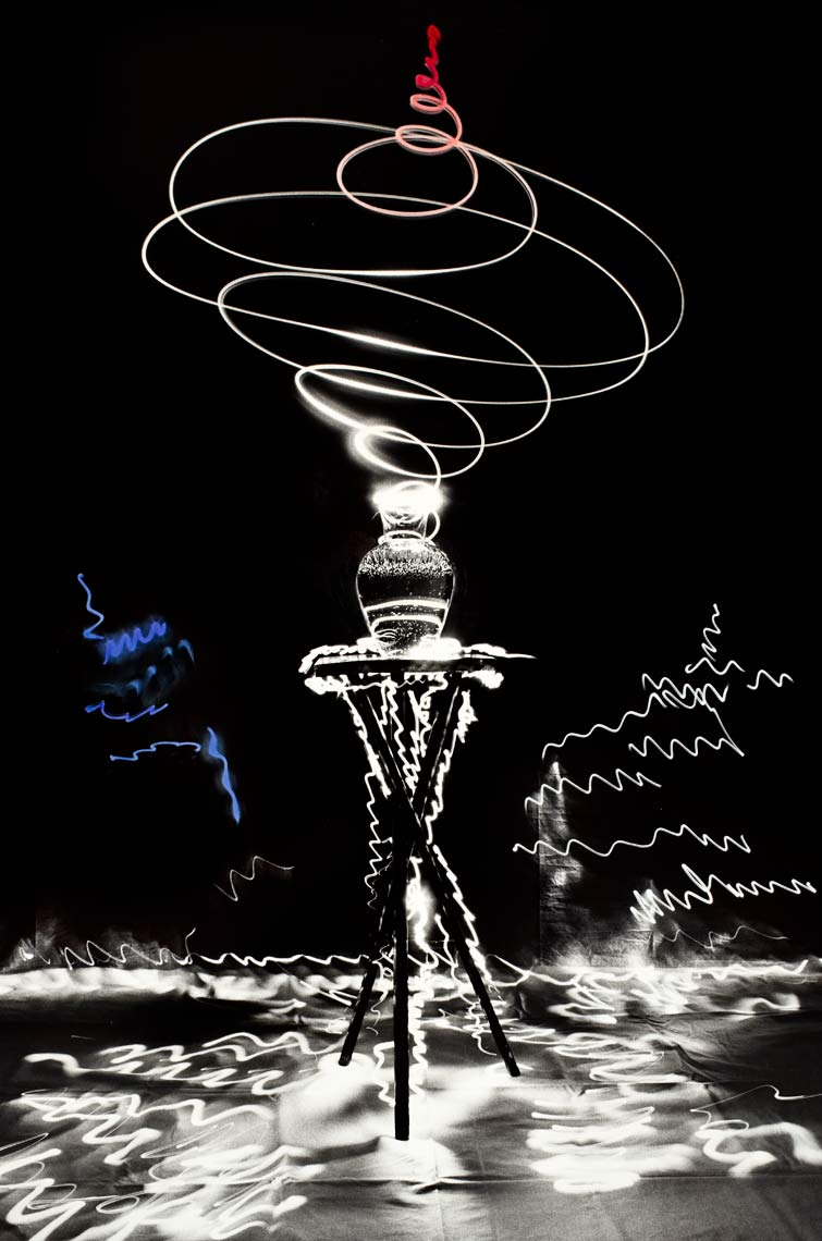 David Lebe; Scribble 8, 1987, light drawing, hand colored photograph