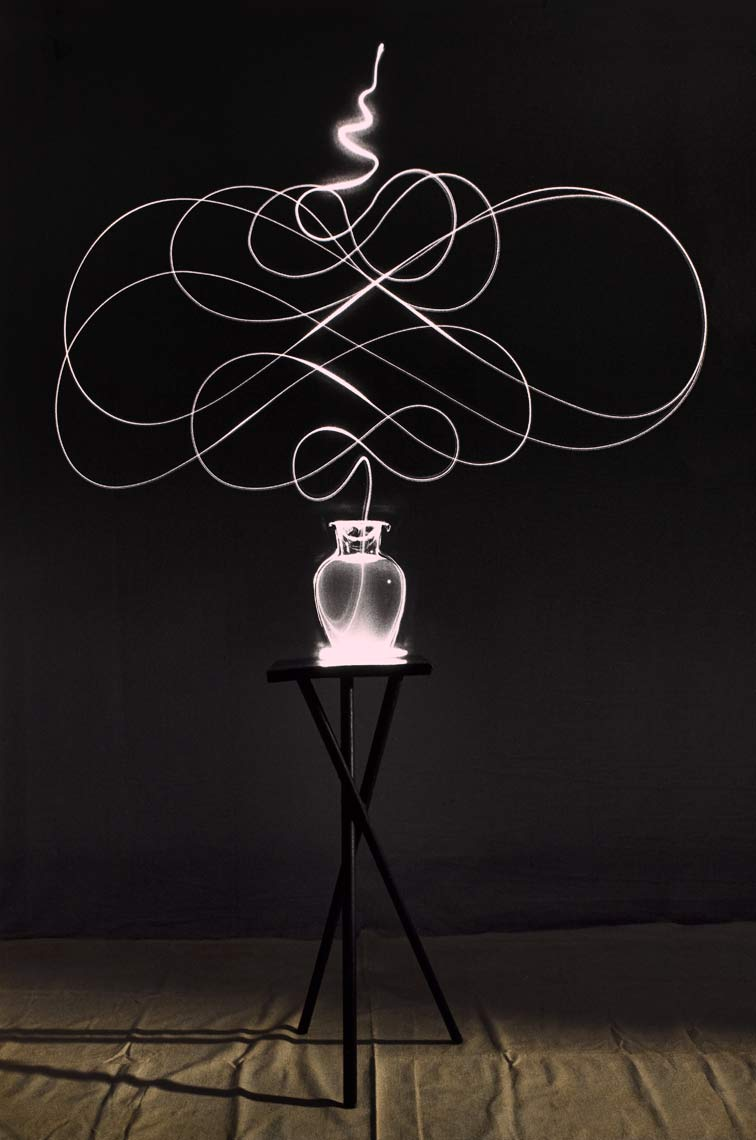 David Lebe; Scribble 9, 1987, light drawing, hand colored photograph