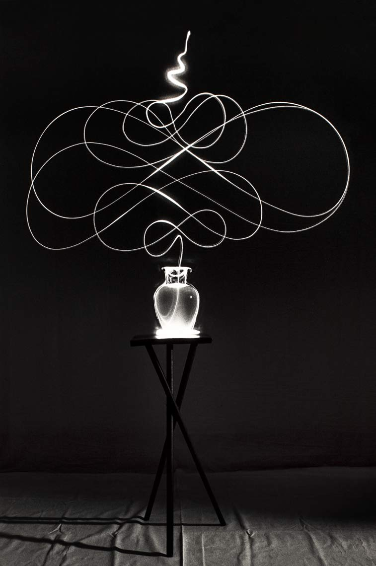 David Lebe; Scribble 9, 1987, light drawing, black and white photograph
