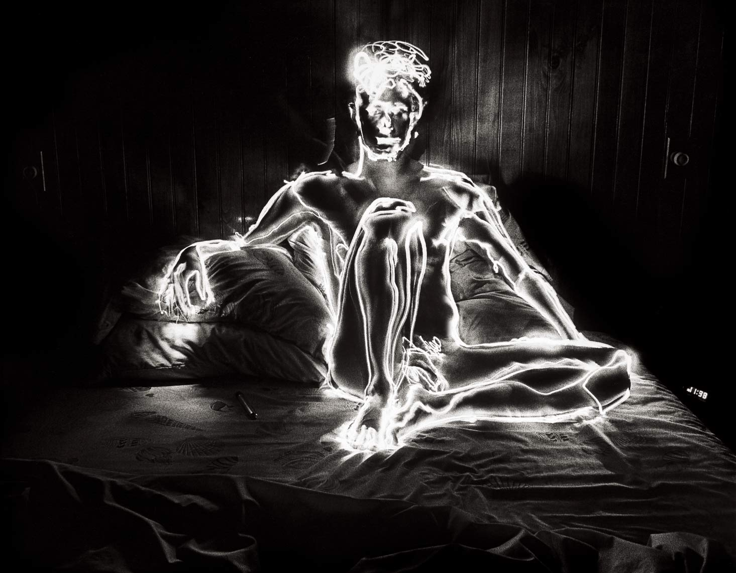 David Lebe; Self 11:98,1981, male nude, light drawing, black and white photograph