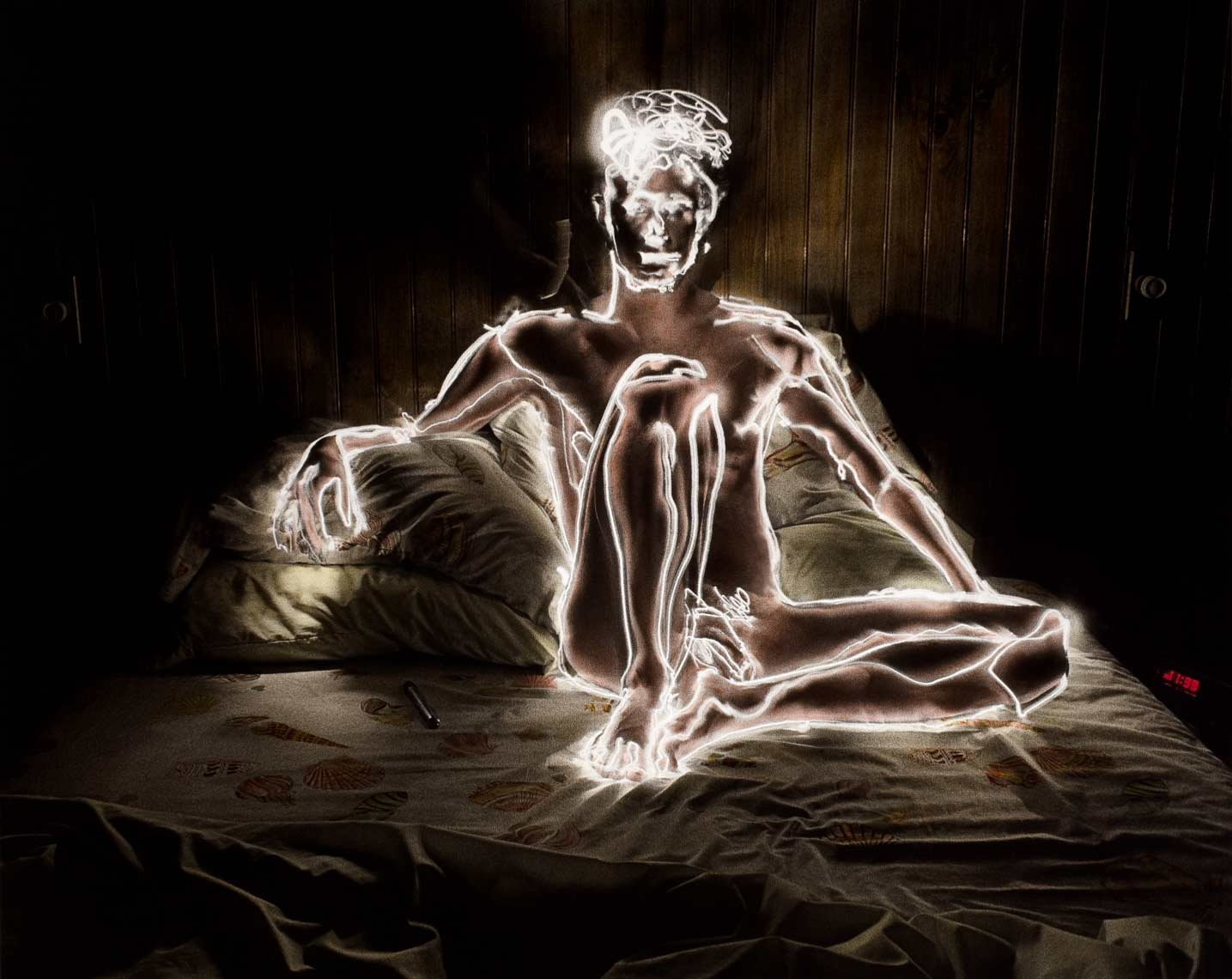 David Lebe; Self Portrait 11:98, 1981, male nude, light drawing, hand colored photograph