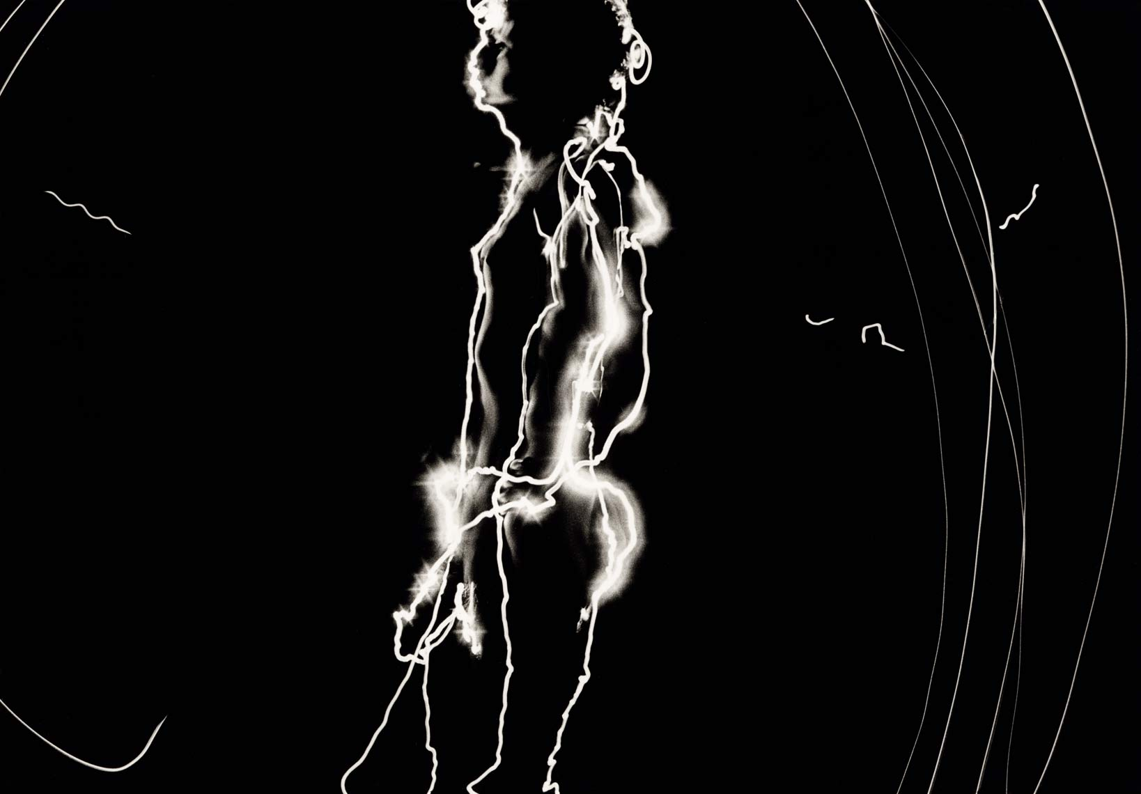 David Lebe; Self Portrait 2, 1976, male nude, light drawing, black and white photograph