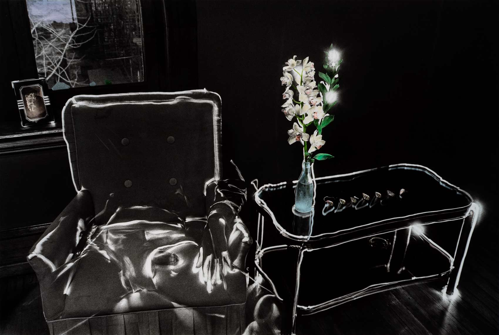 David Lebe; Self Portrait with Orchid 1982, male nude, light drawing, hand colored photograph