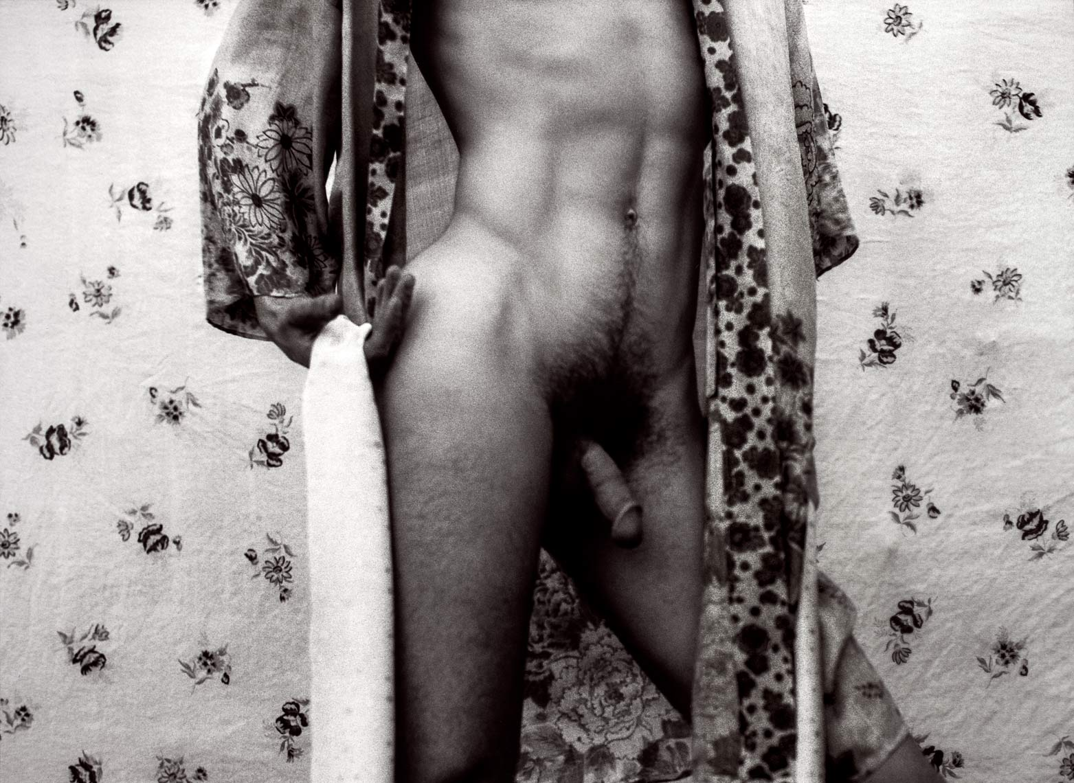David Lebe; Silk Robe,vB, 1983,, male nude, black and white photograph
