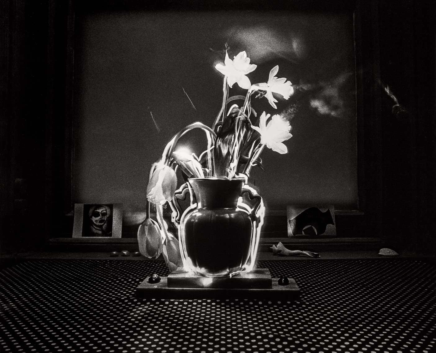 David Lebe; Smoking Daffodils, 1982, light drawing, black and white photograph