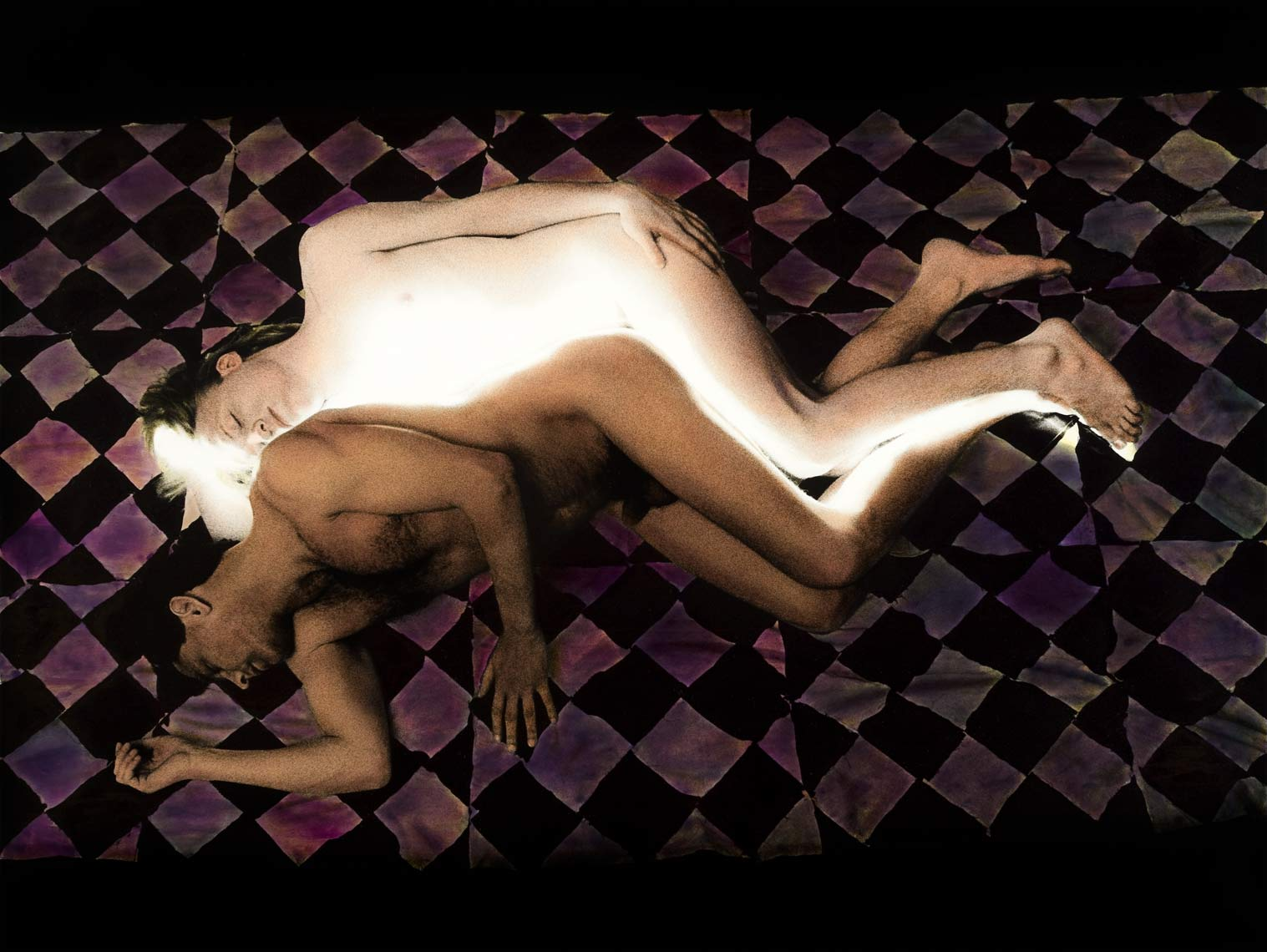 David Lebe; Spooning, 1986, male nude, light drawing, hand colored photograph