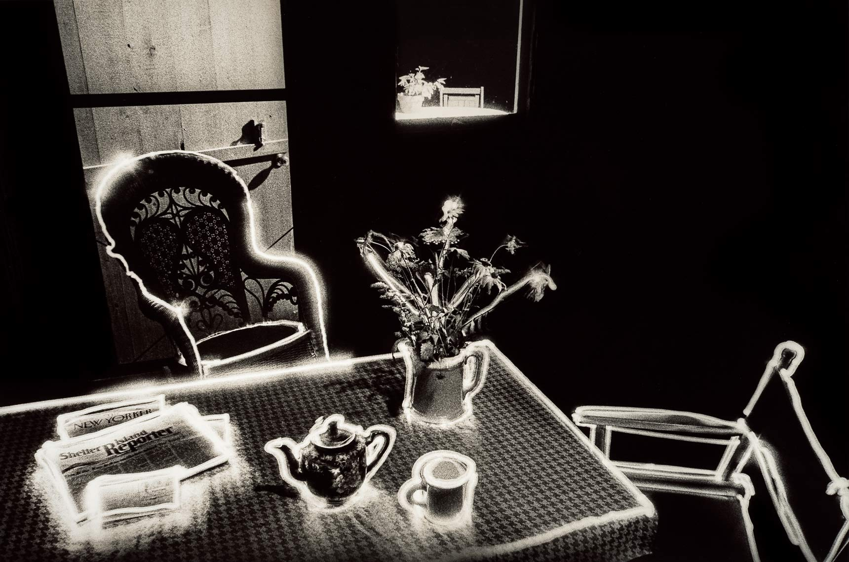 David Lebe; Summer Table, 1981, light drawing, black and white photograph