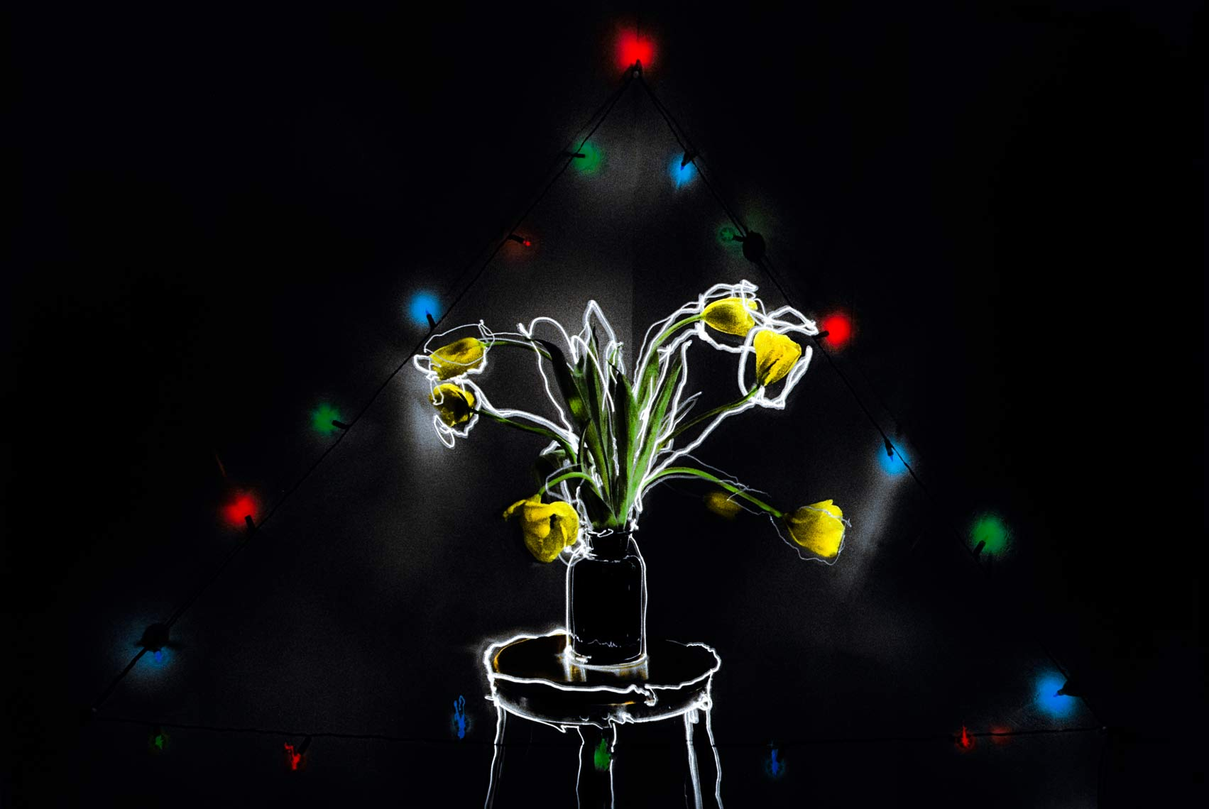 David Lebe; Tulips Colored Lights, 1982, still life, hand colored photograph