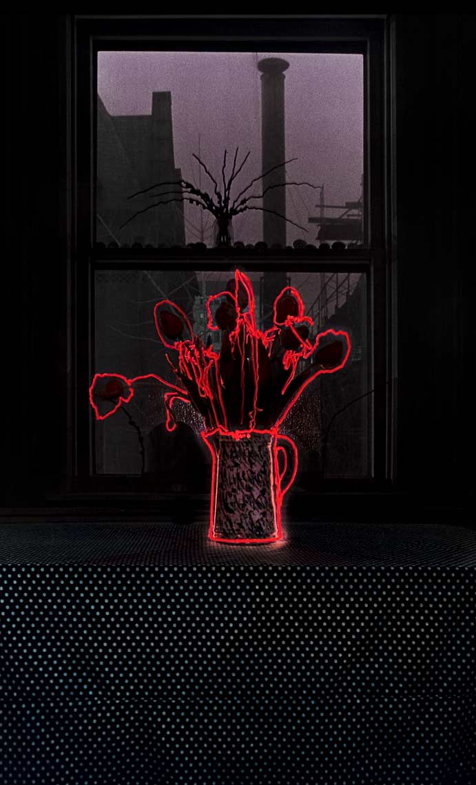 David Lebe; Tulips Outlined In Red, 1982, still life, light drawing, hand colored photograph