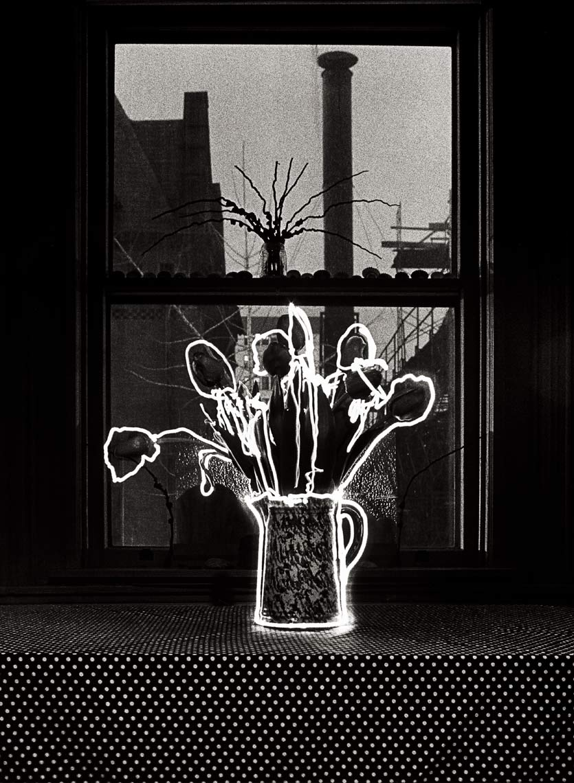 Tulips Outlnd In Light, 1982, light drawing, black and white photograph
